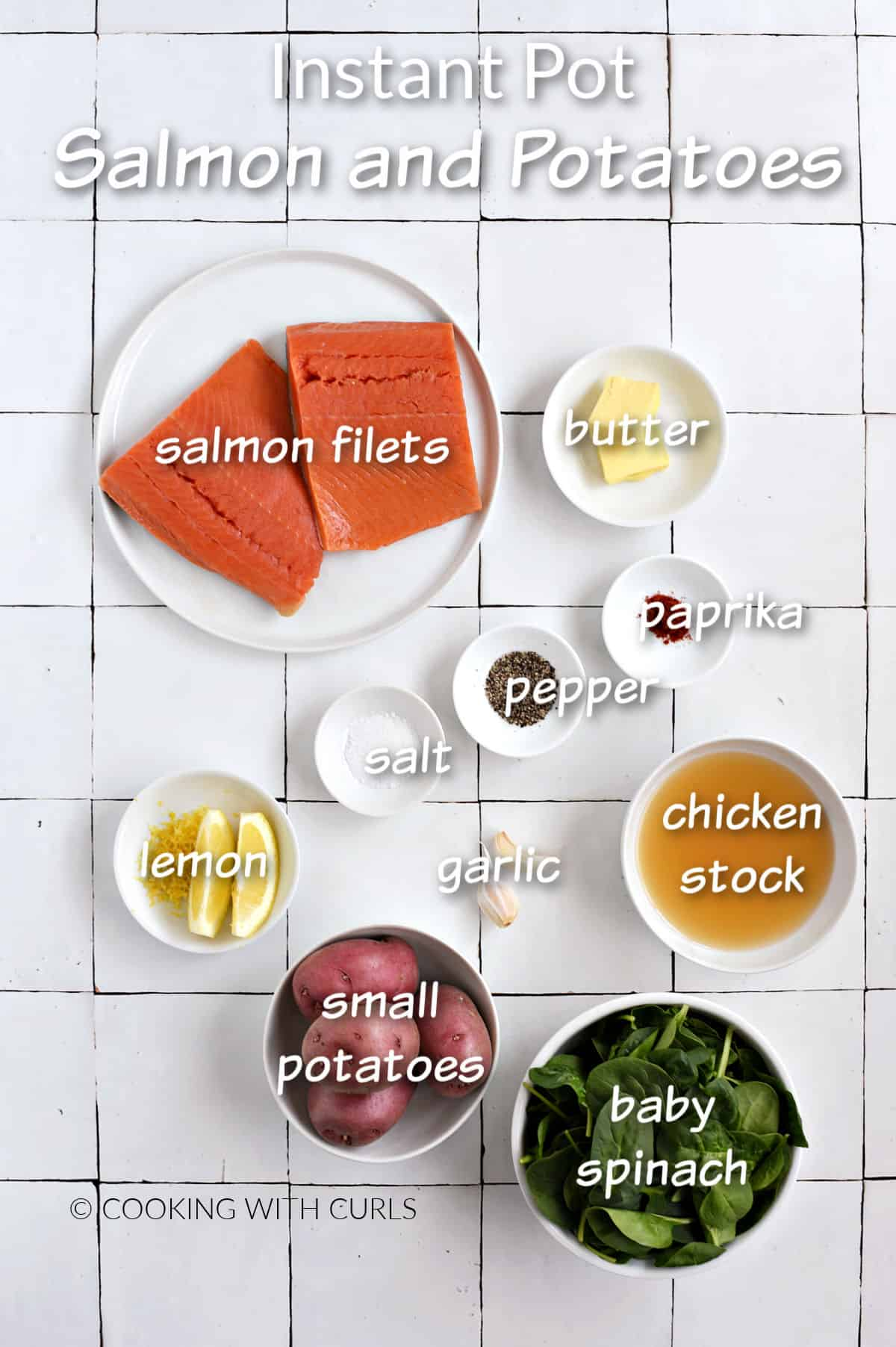 Instant Pot Salmon and Potatoes ingredients on a white tile background.