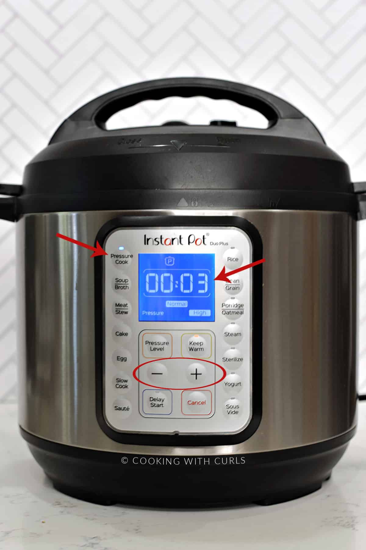 Instant Pot set to 3 minutes on high pressure with a red arrow pointing towards the pressure cook button and circle around the + and - buttons.