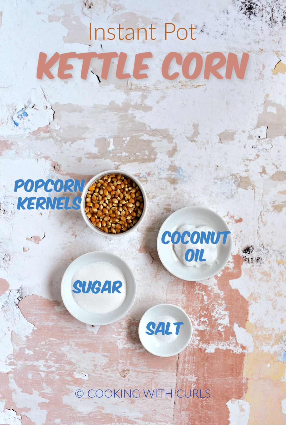 Popcorn kernels, coconut oil, sugar, and salt in small white bowls.