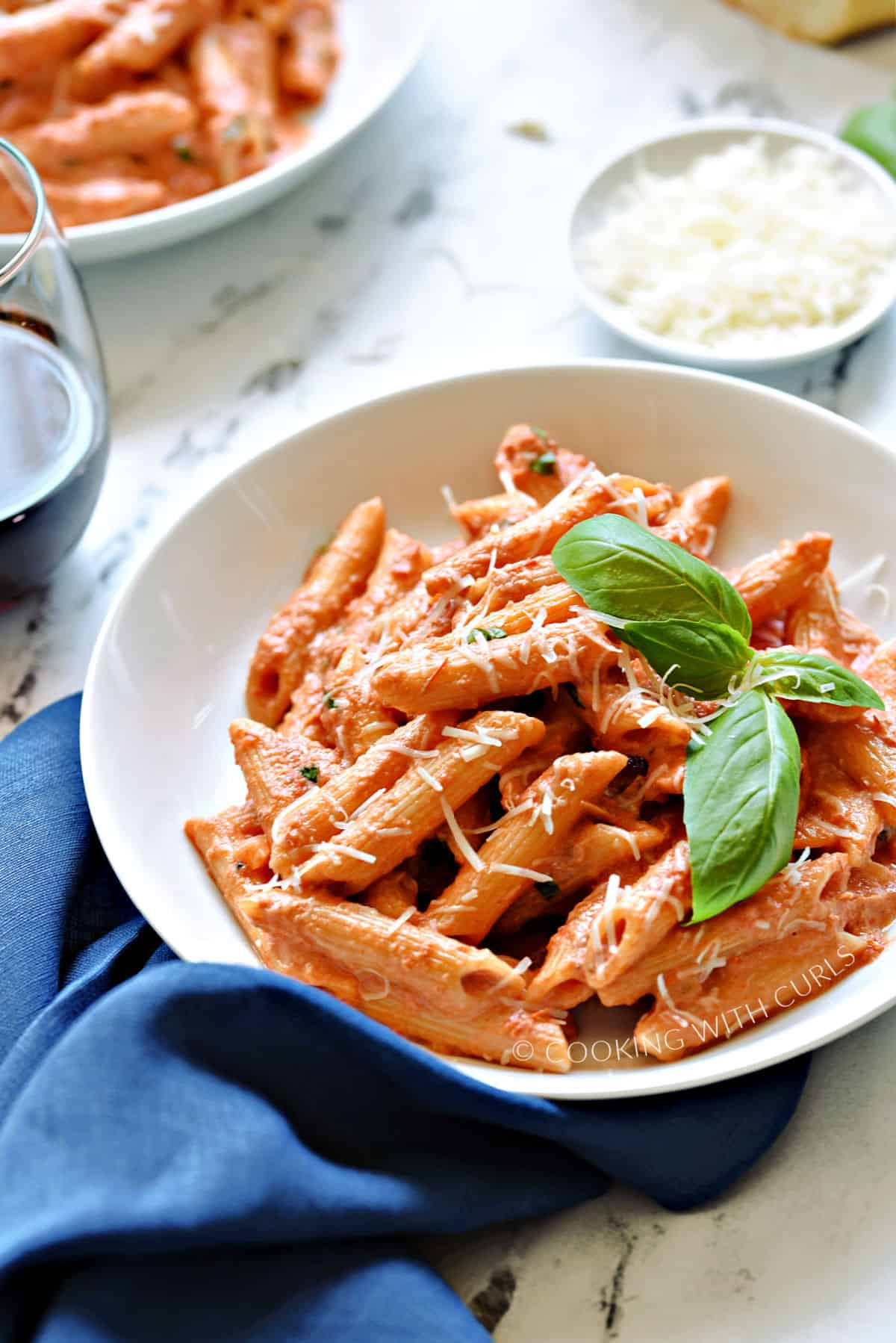 A bowl of Penne with creamy Vodka Sauce.