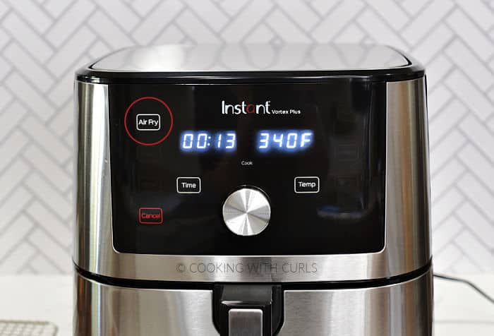 Air Fryer set to 13 minutes at 340 degrees.