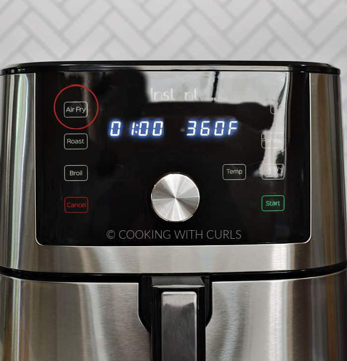 Air Fryer set to Air Fry for one hour at 360 degrees. cookingwithcurls.com