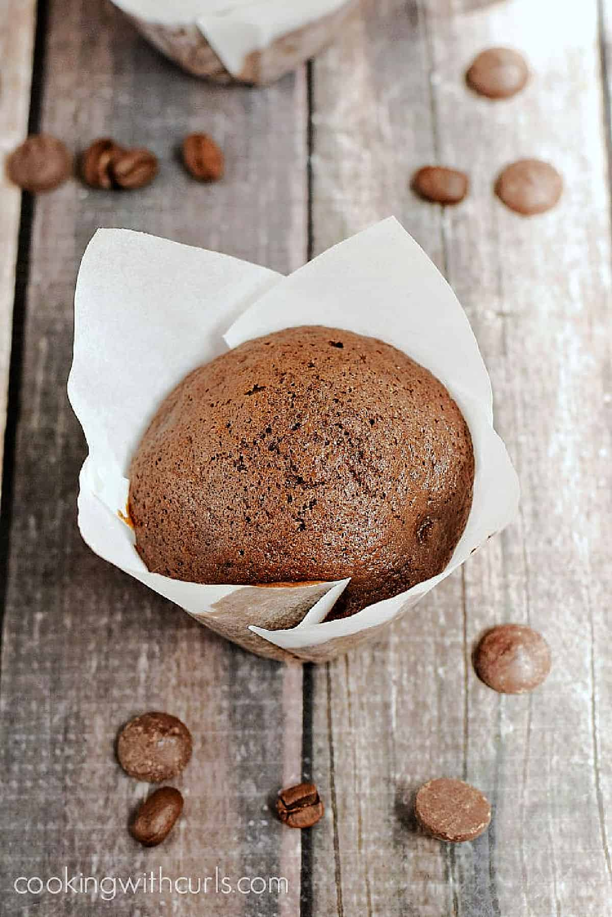 Two chocolate muffins in white paper liners surrounded by coffee beans and dark chocolate chips.