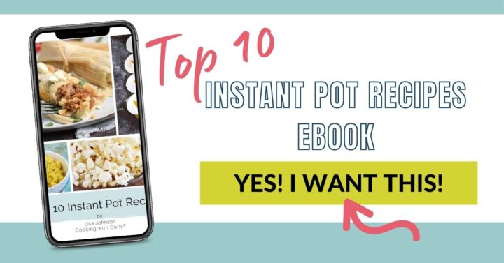 A picture of a recipe ebook in a phone frame with an arrow pointing to a green button to sign up.