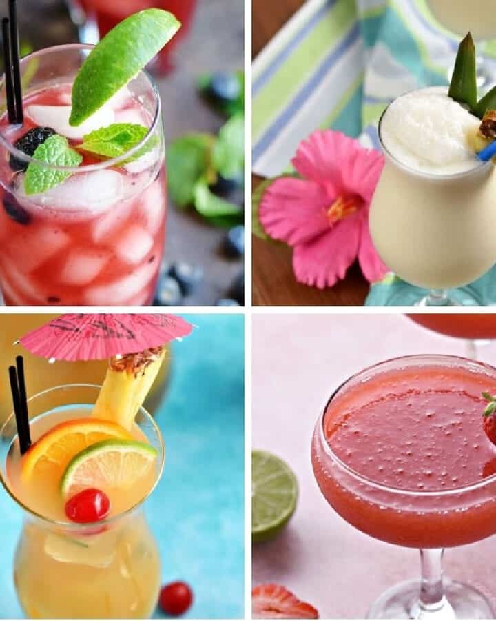 Collage with four small images of tropical cocktails
