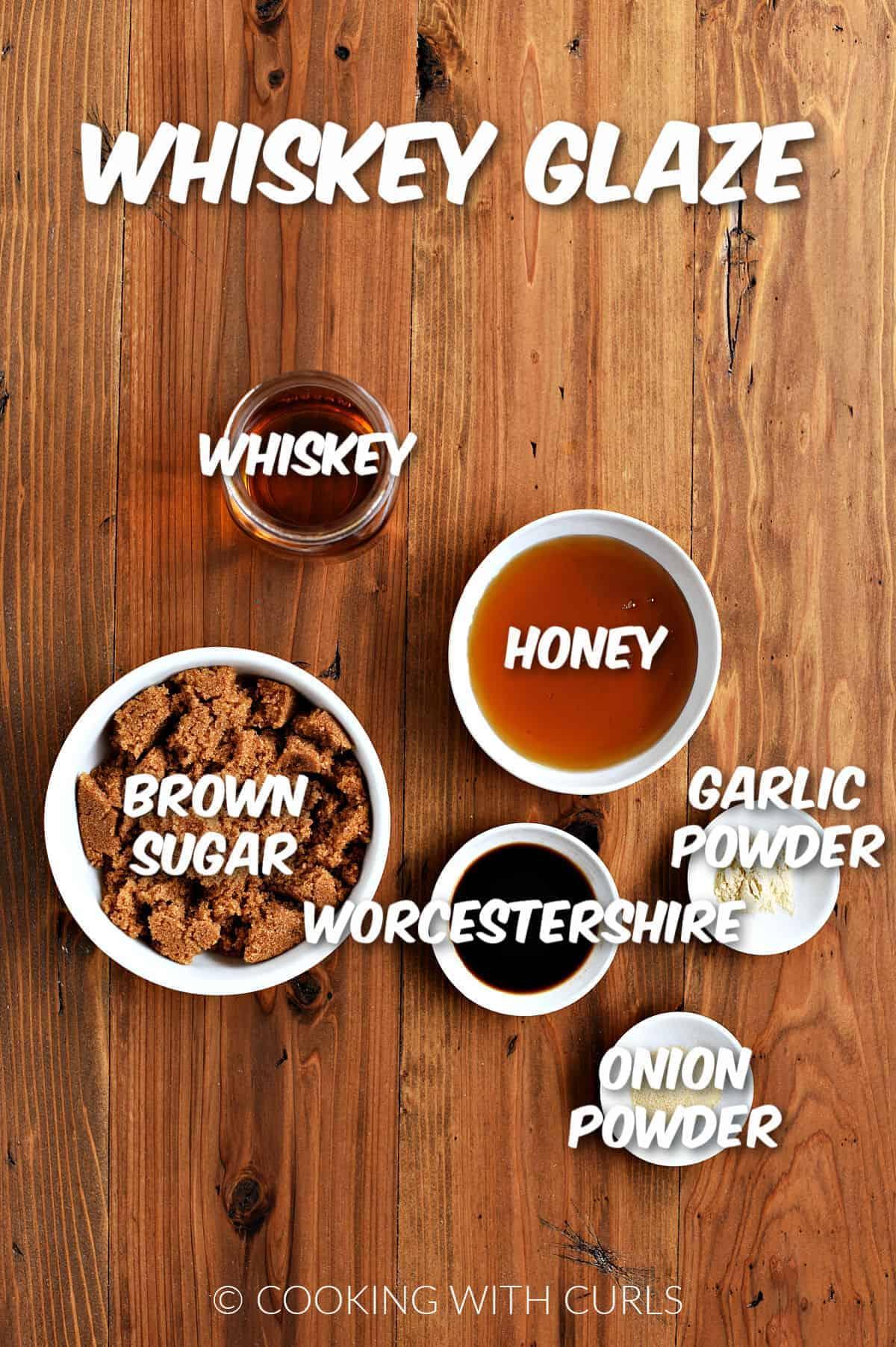 Whiskey, honey, brown sugar, garlic powder, onion powder, and Worcestershire.