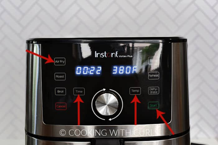 Air Fryer set to twenty two minutes at three hundred eighty degrees.