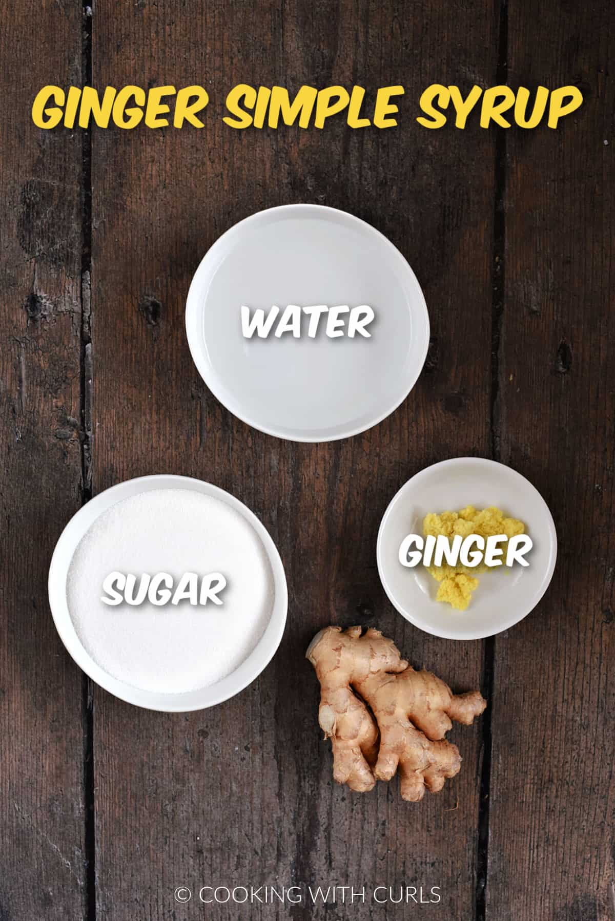 Ginger, sugar and water in small white bowls.