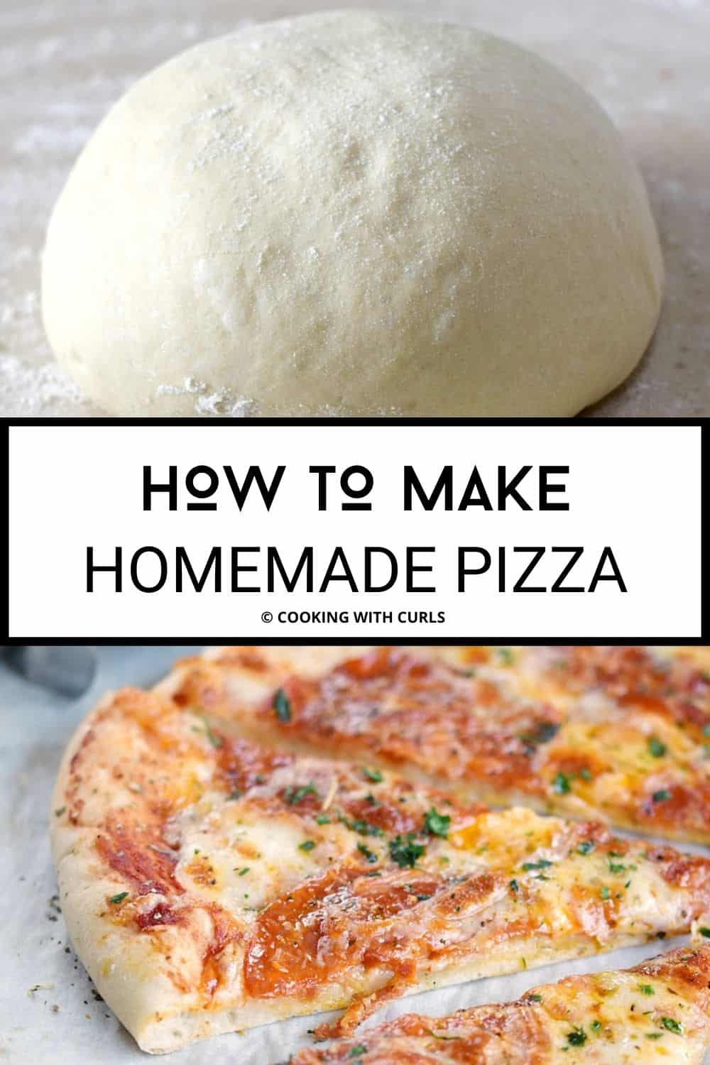 An image of pizza dough on top and an image of pepperoni pizza on the bottom with a title graphic in the middle.
