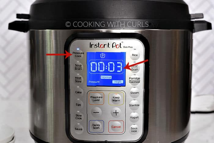 Instant Pot set to Pressure Cook for 3 minutes on High pressure.