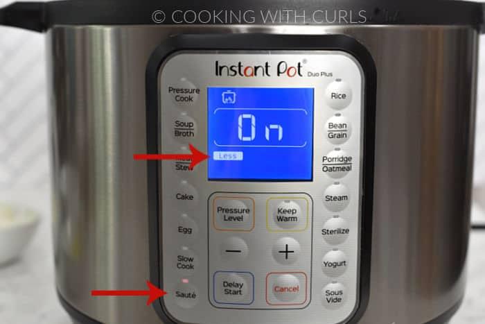 Instant Pot set to Saute Less.