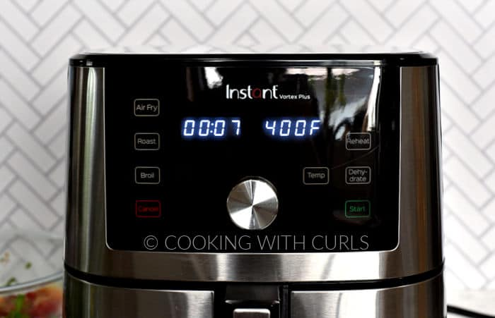 Air Fryer set to 7 minutes at 400 degrees.