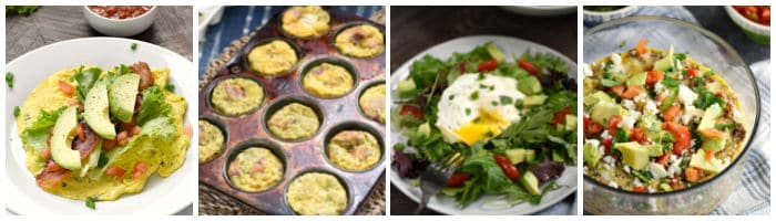 Collage with breakfast burrito, egg muffins, salad, Mexican casserole.