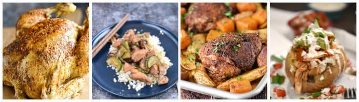 Collage with whole chicken, Chinese garlic chicken, roast chicken thighs, taco chicken in sweet potatoes.