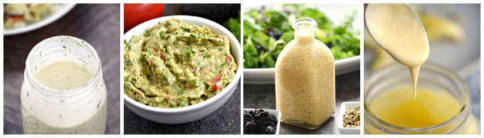 Collage with ranch dressing, guacamole, onion and citrus dressing, and hollandaise sauce.