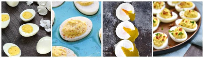 Collage with hard boiled eggs, deviled eggs, poached eggs, and ranch bacon deviled eggs.