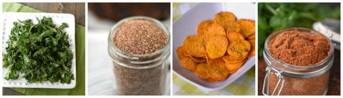 Collage with kale chips, taco seasoning, sweet potato chips, and cowboy seasoning.