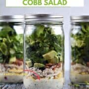 Ranch dressing, tomato, egg, bacon, avocado, and lettuce layered in a Mason jar with title graphic across the top.