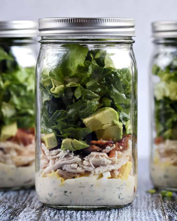 Mason Jar Cobb Salad with Ranch Dressing recipe.