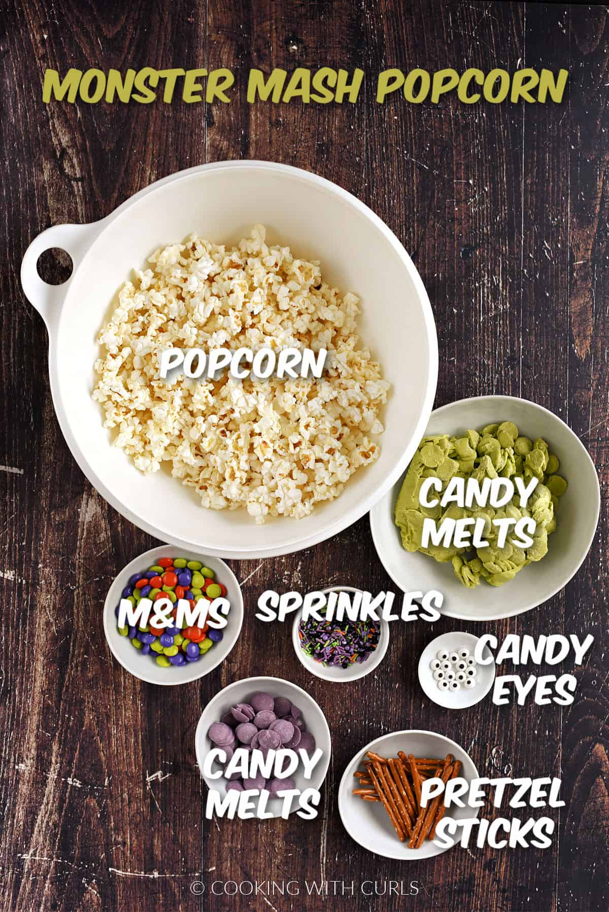 Popped popcorn, green and purple candy melts, m&ms, sprinkles, candy eyes and pretzel sticks.