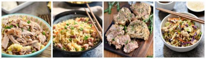 Collage with Kalua pork, ham fried rice, rosemary garlic pork roast, egg roll in a bowl.