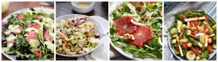 Collage with cilantro lime steak salad, Asian sesame salad, arugula and blood orange salad, and chefs salad.