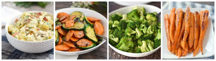 Collage with bacon potato salad, zucchini and carrots, steamed broccoli, roasted carrots.