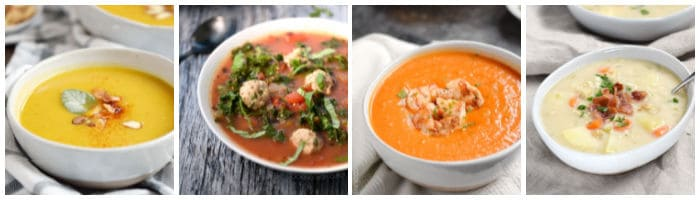 Soup collage with butternut apple, Italian meatball, roasted red pepper with shrimp, and clam chowder.