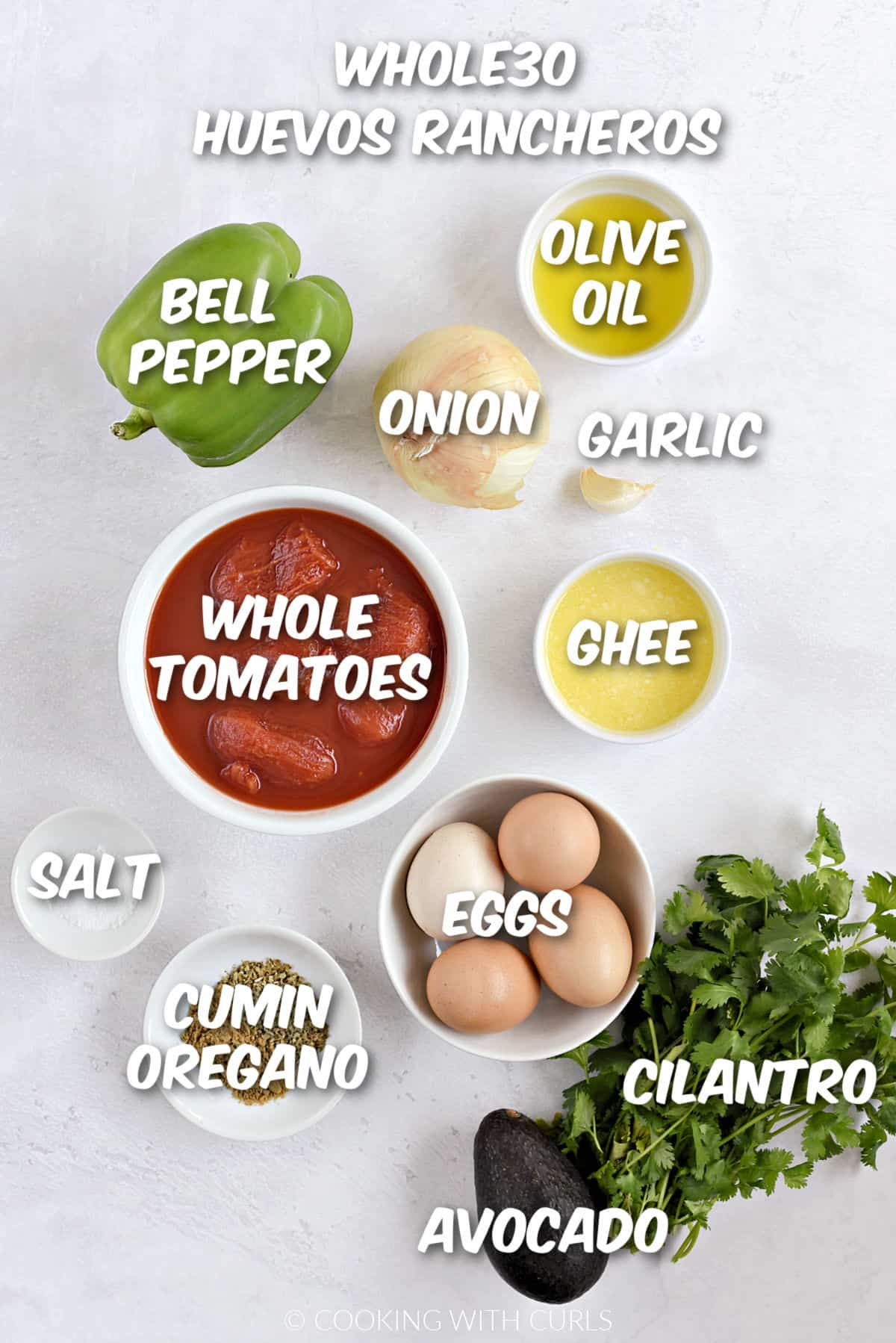 All of the ingredients to make whole30 huevos rancheros.