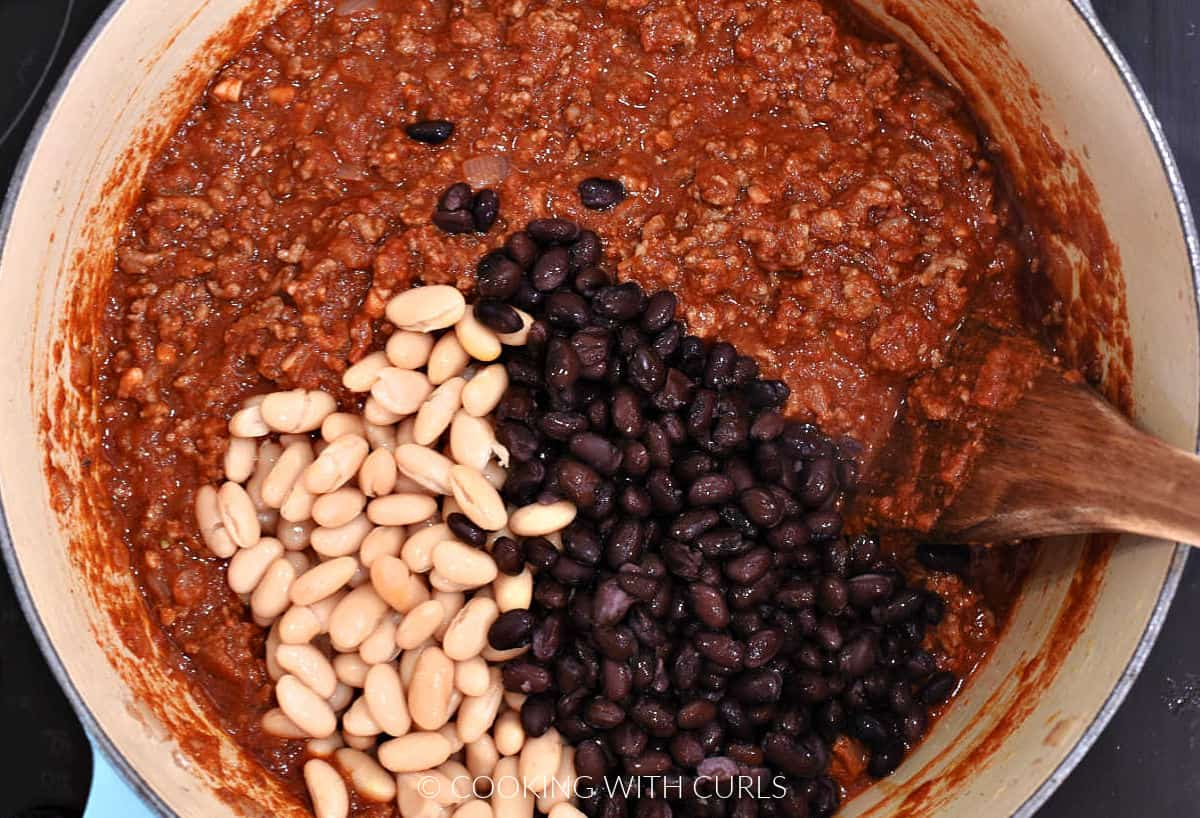 Black and white kidney beans added to the chili mixture.