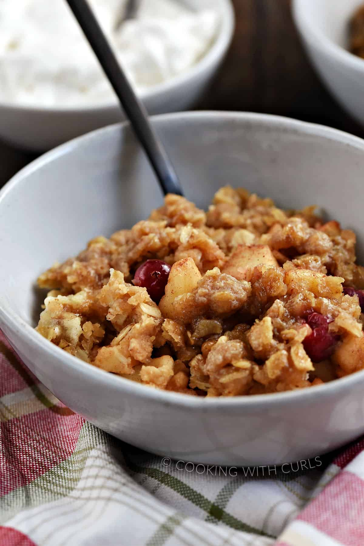 Close-up image of apple cranberry crisp in a bowl with a bowl of whipped cream in the background.