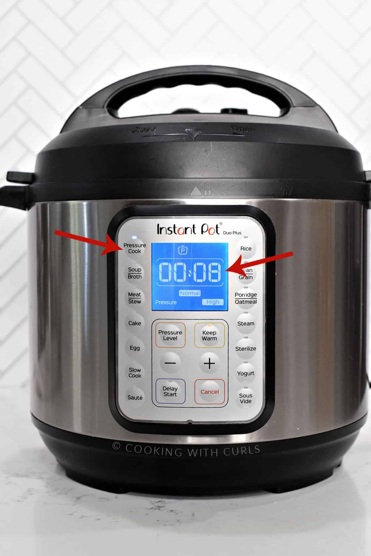 Instant Pot set to 8 minutes on High Pressure.