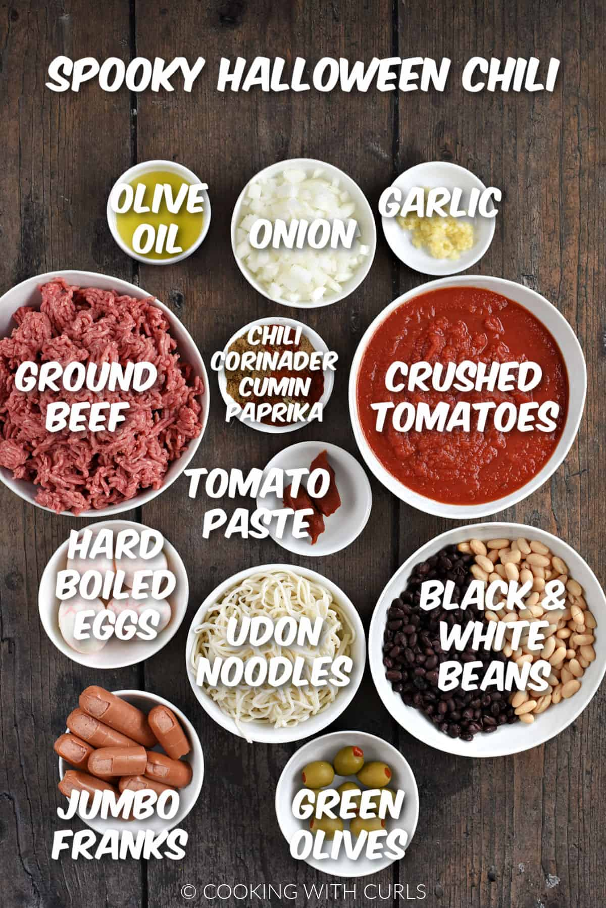 The ingredients to make Spooky Halloween Chili in white bowls.